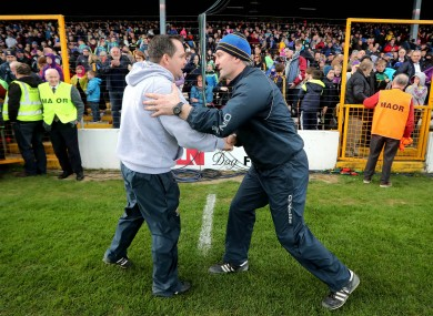 Tipperary manager Michael Ryan (right) with Wexford boss Davy Fitzgerald after yesterday's Allianz Hurling League semi-final.