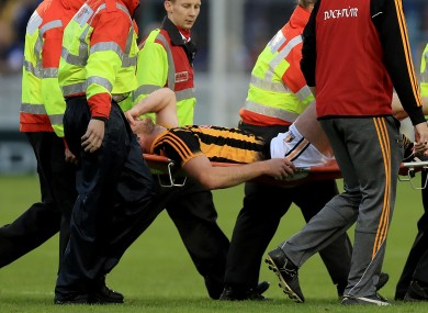 Michael Fennelly is stretchered off in Thurles last August.