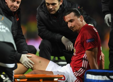 Manchester United striker Zlatan Ibrahimovic suffers an injury against Anderlecht.
