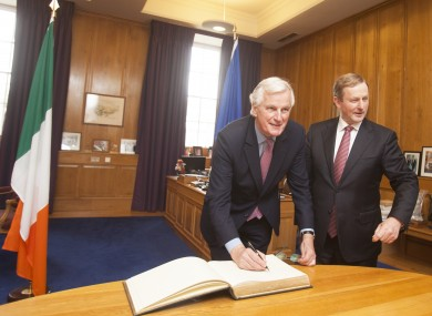 The European Union's chief Brexit negotiator Michel Barnier with Taoiseach and Fine Gael leader Enda Kenny in the Taoiseach's office in Government Buildings today as Michel Barnier signs the visitor book