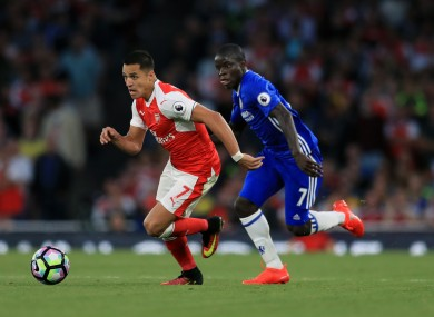 Arsenal's Alexis Sanchez and N'Golo Kante of Chelsea.