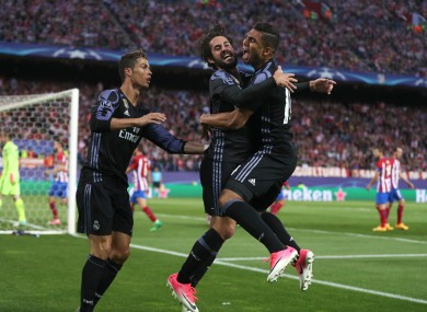 Real Madrid's Isco (centre) celebrates scoring his side's first goal.