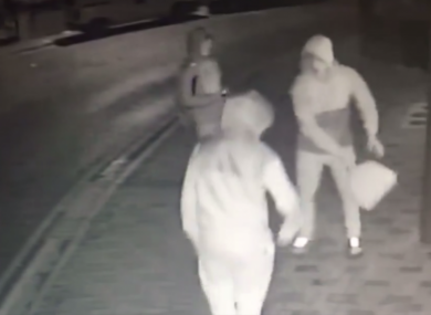 Three men caught on CCTV destroying a defibrillator in Arklow, Wicklow, just after Christmas last year.