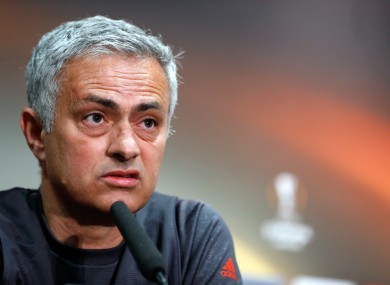 Mourinho speaking at yesterday's pre-match press conference.