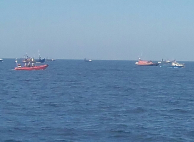 Boats involved in the search for the fisherman just north of Skerries.
