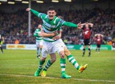 Trevor Clarke celebrates his goal.