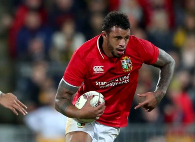 Courtney Lawes on the charge for the Lions during this morning's draw with the Hurricanes.