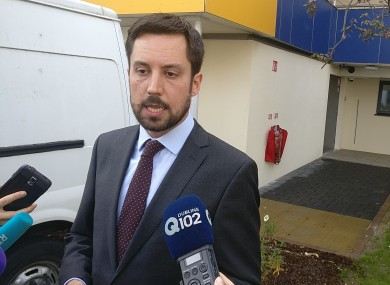 Housing Minister Eoghan Murphy talking to reporters today.