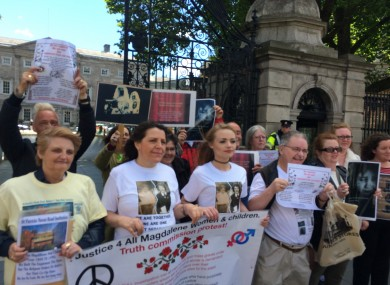 Protesters outside the Dáil yesterday calling for a truth commission into Magdalene Laundries.
