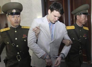 American student Otto Warmbier at the Supreme Court in Pyongyang last year.