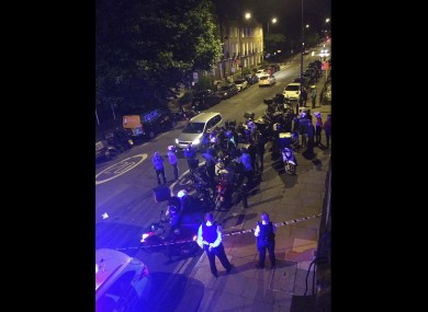 The scene of an acid attack in London last night.