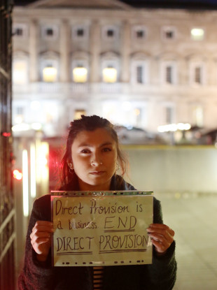 Sophia Sharma joins protesters outside Leinster House earlier this year.