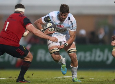 Gerbrandt Grobler pictured playing against Munster for Racing 92 in the Champions Cup earlier this year.