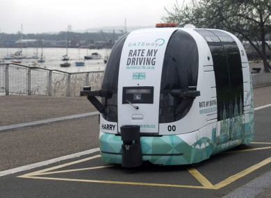 A driverless vehicle being tested in Greenwich, London.