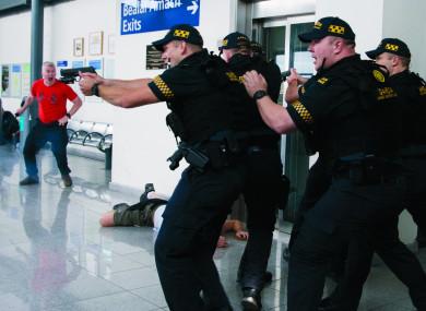 Gardaí take part in staged terrorism attack.
