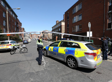 Gardaí at the scene of the shooting of Gareth Hutch last year.