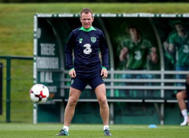 Glenn Whelan pictured at Ireland training today.