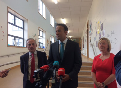 Education Minister Richard Bruton, Taoiseach Leo Varadakar and Social Protection Minister Regina Doherty at Stanhope Street Primary School this morning.
