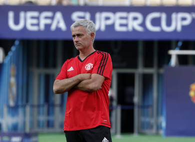 Mourinho at the Philip II Arena during yesterday's training.