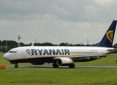 A Ryanair flight at Manchester Airport.