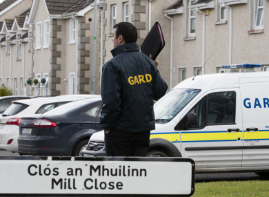 The scene at Mill Close in Stamullen, where a man was shot multiple times yesterday.