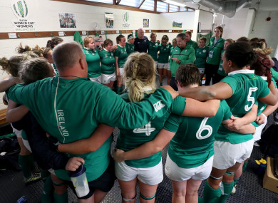 Ireland huddle in the dressing room after the game.