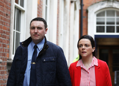 Garda Keith Harrison with his partner Marissa Simms arriving at the Disclosures Tribunal in Dublin Castle.