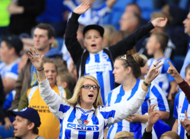 Supporters rejoice as Brighton defeat Newcastle 1-0 at the AMEX Stadium.