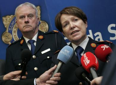 Acting Garda Commissioner, Donall O Cualain, with the former Garda Commissioner Noírín O'Sullivan.