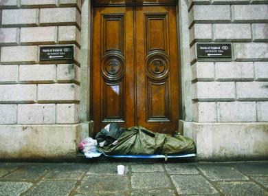 File photo of a rough sleeper in Dublin
