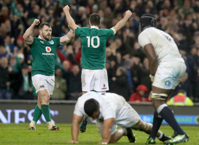 Ireland's Cian Healy and Johnny Sexton celebrate after beating England at the Aviva Stadium.