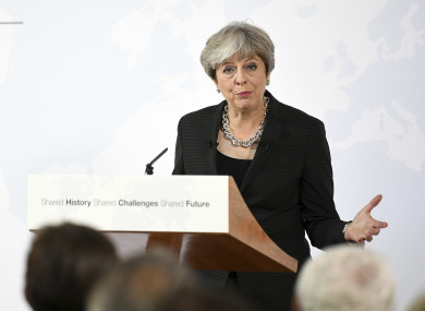 British Prime Minister Theresa May speaking in Complesso Santa Maria Novella in Florence, Italy.