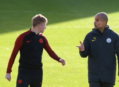 Kevin De Bryune and Pep Guardiola.
