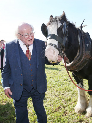 President of Ireland Michael D Higgins at the first day of the Ploughing Championships in Screggan, Tullamore.