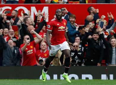 Manchester United's Romelu Lukaku celebrates scoring.