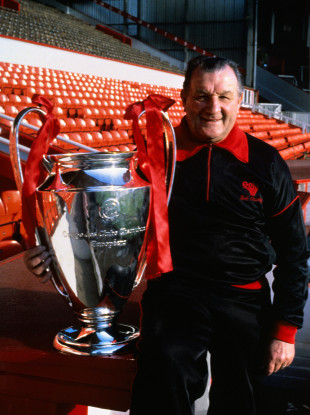 Legendary former Liverpool manager Bob Paisley pictured with the European Cup in 1977.