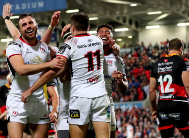 Ulster ran in eight tries last night.