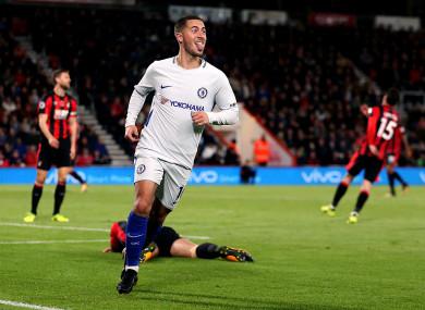 Eden Hazard celebrates giving Chelsea the lead.