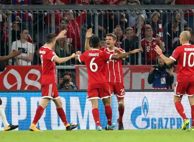 Thomas Muller celebrates his breakthrough goal.