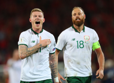 James McClean and David Meyler after last week's win over Wales.