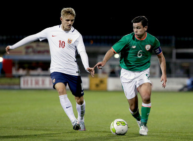 Ireland's Josh Cullen (right) with Martin Odegaard of Norway.