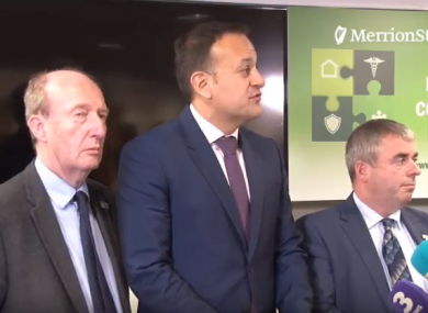 Taoiseach Varadkar with Transport Minister Shane Ross, left, and Kevin 'Boxer' Moran, Minister for State of Public Works and Flood Relief, right.