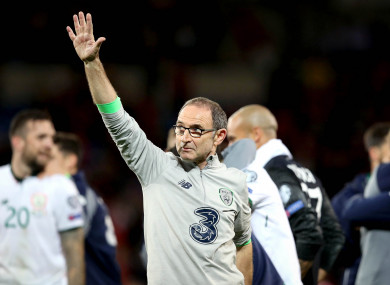 O'Neill salutes the visiting Irish fans.
