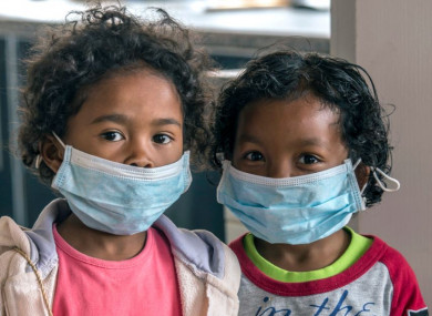 Children wear face masks at a school in Antananarivo, Madagascar