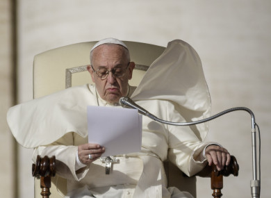 Pope Francis delivers his homily in St Peter's Square in Vatican city.