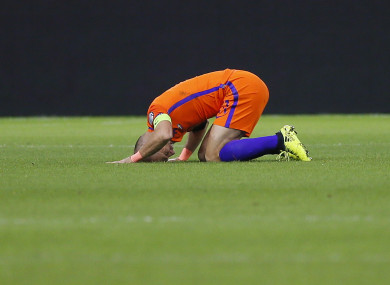 Netherland's Arjen Robben grimaces during a World Cup Group A soccer qualifying match.