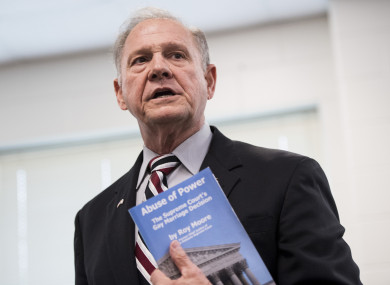 Roy Moore speaks during a candidates' forum in Valley, Alabama.