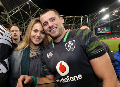 Stander and his wife, Jean-Marie, after the game.