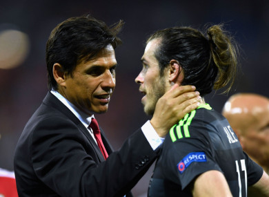 Former Wales coach Chris Coleman and Gareth Bale