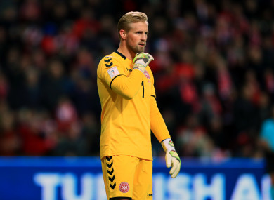 Kasper Schmeichel pictured during Denmark's 0-0 draw with Ireland on Saturday night.